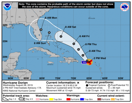 Hurricane Prep Alert- Dorian Heads for Land
